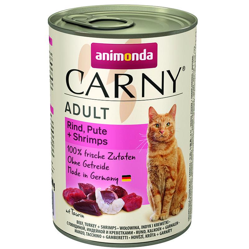 Корм для кошек Animonda Carny Adult говядина, индейка, креветки конс. 400г корм для кошек animonda carny говядина ягненок конс 200г