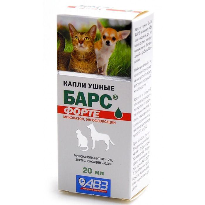 Капли ушные АВЗ БАРС Форте для лечения отитов собак и кошек 20мл