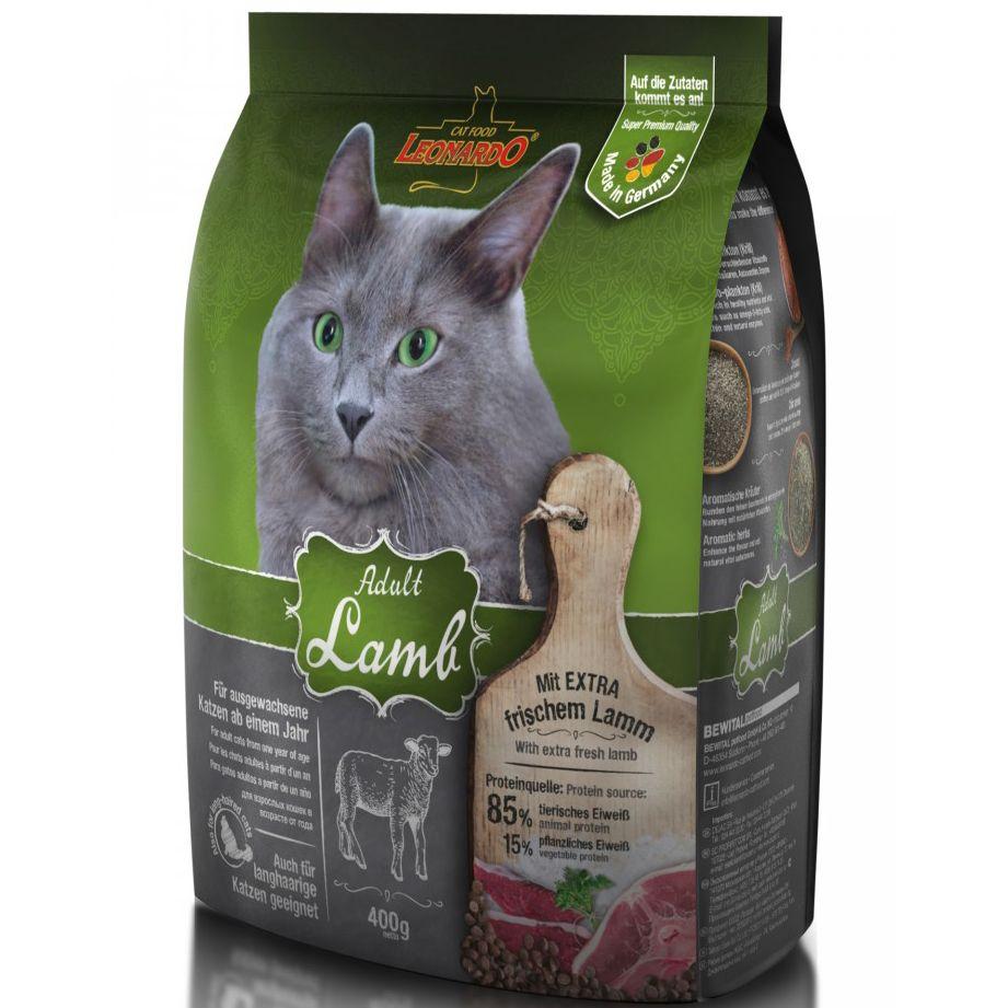 цена на Корм для кошек Leonardo для склонных к аллергии, ягненок с рисом сух. 400г