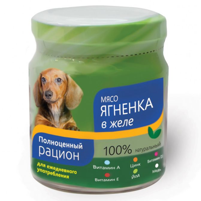 Корм для собак TITBIT Ягненок в желе (банка стекло) конс. 100г для ванны желе