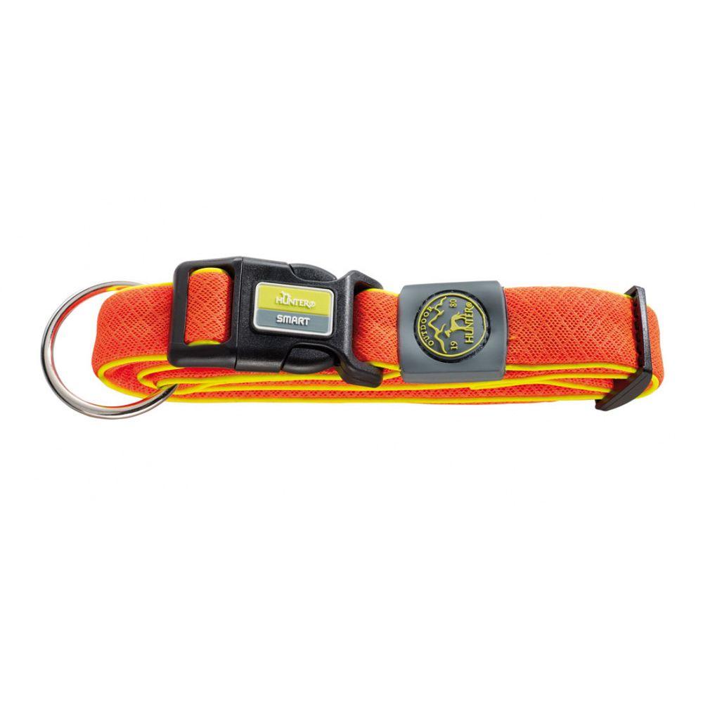 цена Ошейник для собак HUNTER Maui М (36-55 cм)/2,5см сетчатый текстиль оранжевый онлайн в 2017 году