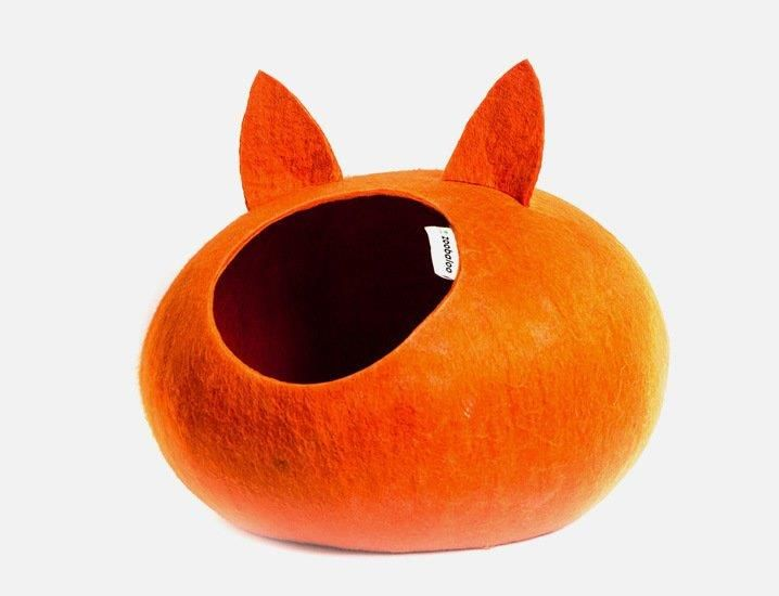 Домик-слипер для кошек ЗООБАЛУ WoolPetHouse с ушками, оранжевый 40х40х20см