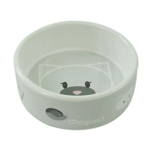 Миска для животных Foxie Кошачья мордочка серая керамическая 12,5х4,5см 290мл