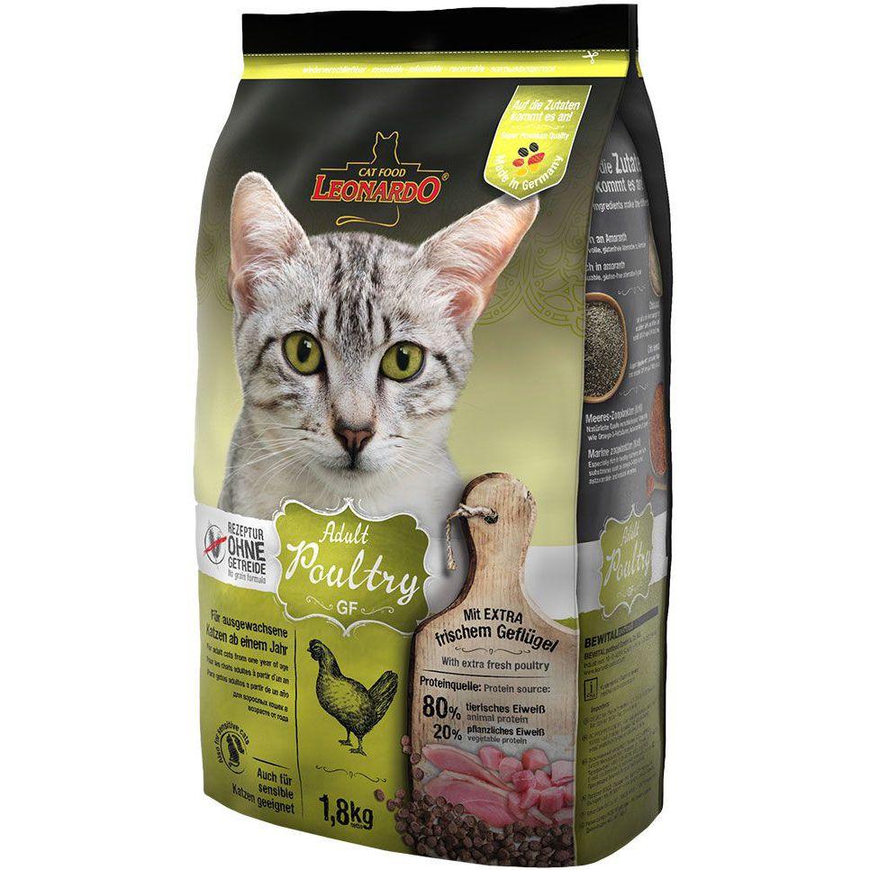 Корм для кошек Leonardo Poultry GF с чувствительным пищеварением, беззерновой, птица сух. 1,8кг
