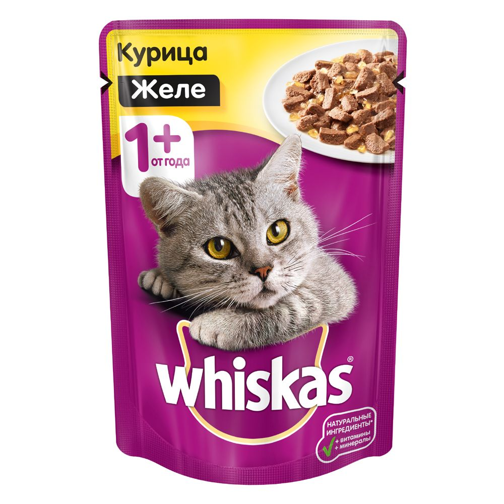 Корм для кошек Whiskas желе с курицей конс. 85г корм для кошек вискас крем суп с курицей 85г