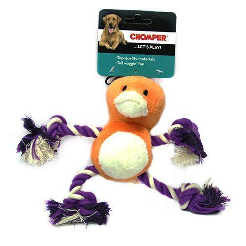 Игрушка для собак CHOMPER Bark A Boo Mini с лапами из каната игрушка для собак chomper bark a boo мяч узел из каната с резиной