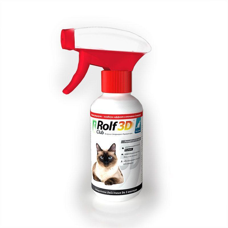 Спрей ROLF CLUB 3D от клещей и блох для кошек 200мл спрей от клещей для животных