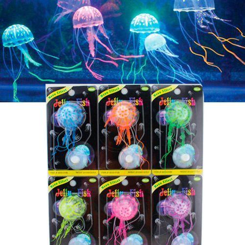 Декор для аквариумов JELLYFISH Медуза силиконовая с неоновым эффектом, мини, D=3,5см декор для аквариумов jellyfish листья лотоса голубые силиконовые 4шт 7х3 5х10см