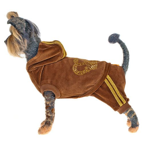 Комбинезон для собак HAPPY PUPPY Гламур велюровый коричневый-1 20см