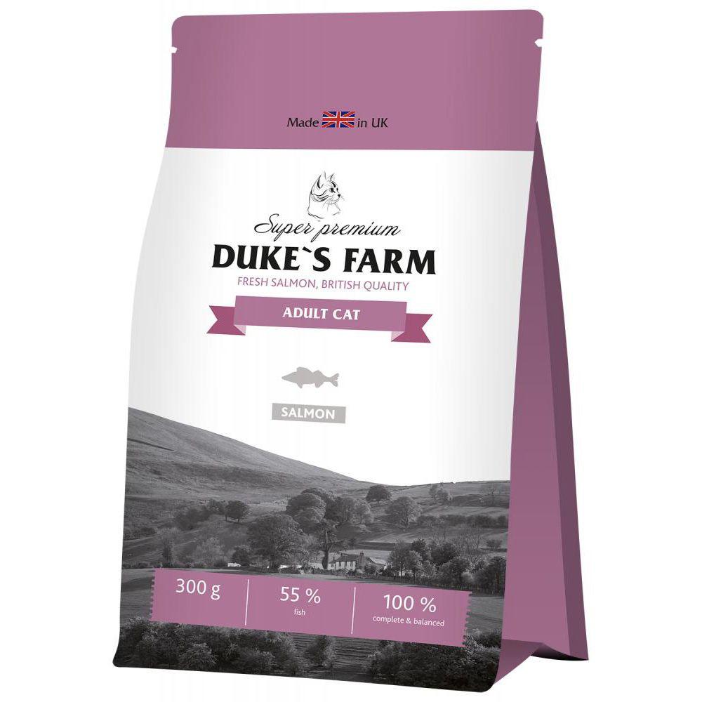 цена Корм для кошек DUKE'S FARM лосось сух. 300г онлайн в 2017 году