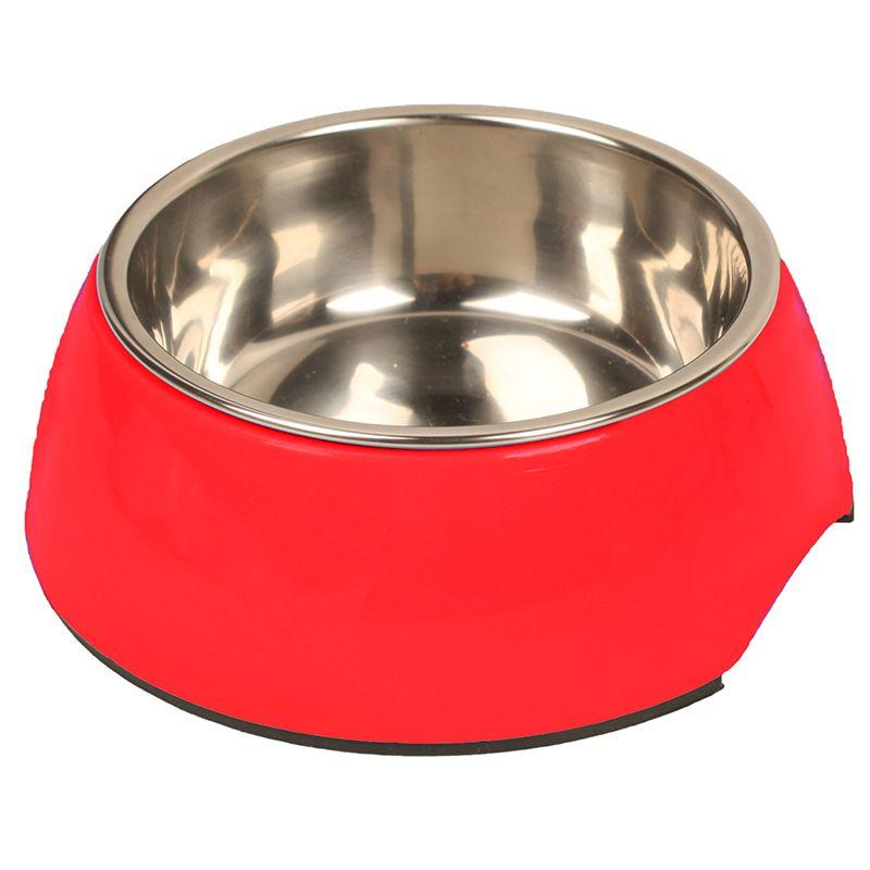 Миска для животных MAJOR металл на меламиновой подставке, красная 380мл