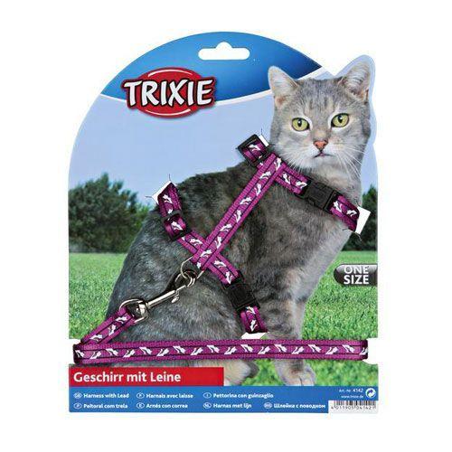 Шлейка+поводок для кошки TRIXIE Черепа и кости  нейлон