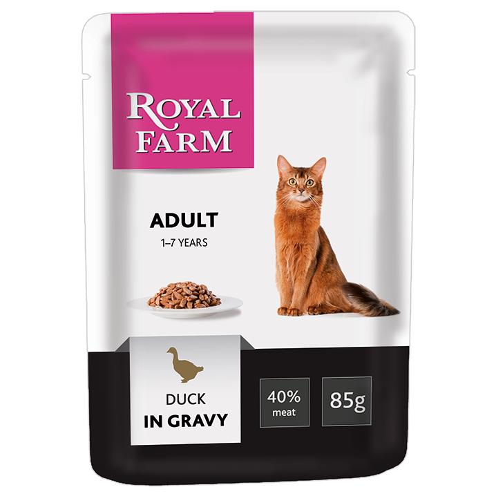Корм для кошек ROYAL FARM утка в соусе пауч 85г