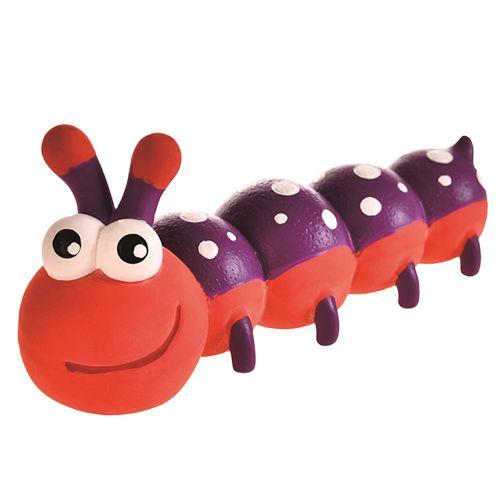 Игрушка для собак Foxie Гусеница с пищалкой 18х6,5х8,5см латекс красная