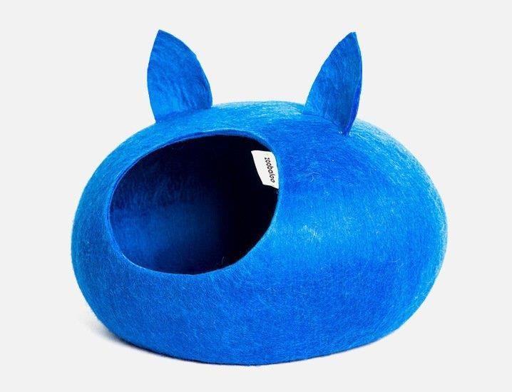 Домик-слипер для кошек ЗООБАЛУ WoolPetHouse с ушками, синий 40х40х20см