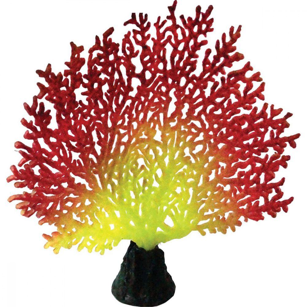 Декор для аквариумов JELLYFISH Коралл светящиеся красный желтый 20,5х19х6,5см декор для аквариумов jellyfish листья лотоса голубые силиконовые 4шт 7х3 5х10см