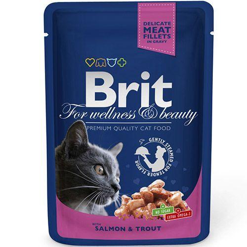Фото - Корм для кошек Brit Premium Cat Лосось и форель конс. пауч brit набор паучей brit premium family plate jelly для взрослых кошек в желе 85 г х 12 шт курица говядина форель и лосось