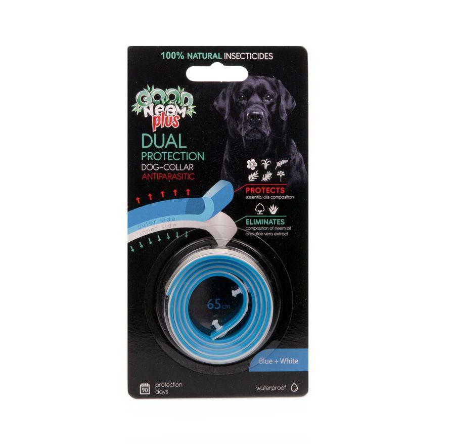 БИОошейник GOOD NEEM PLUS для собак и щенков 2-слойный с маслом Дерева Ним, голубой+белый 65см
