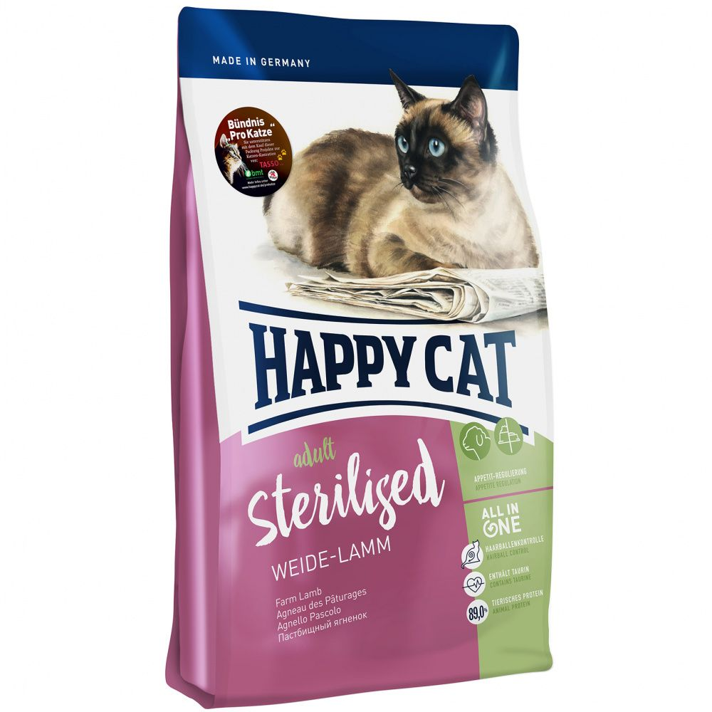 Корм для кошек HAPPY CAT Fit & Well Sterilised Пастбищный ягненок сух. 300г