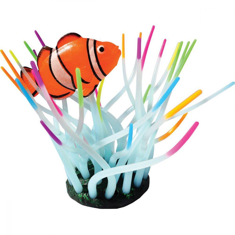Декор для аквариумов JELLYFISH Актиния с рыбой Клоун светящийся радужный 11х8х14,5см