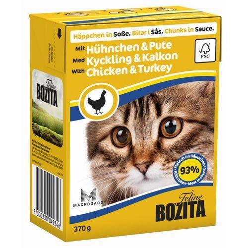 Корм для кошек BOZITA Кусочки в соусе с курицей и индейкой конс.370г цена