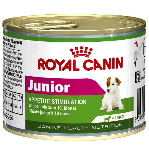 Корм для щенков ROYAL CANIN Junior до 10 месяцев конс. 195г корм для щенков royal canin роял канин german shepherd junior 30 для породы немецкая овчарка до 15 месяцев сух 12кг