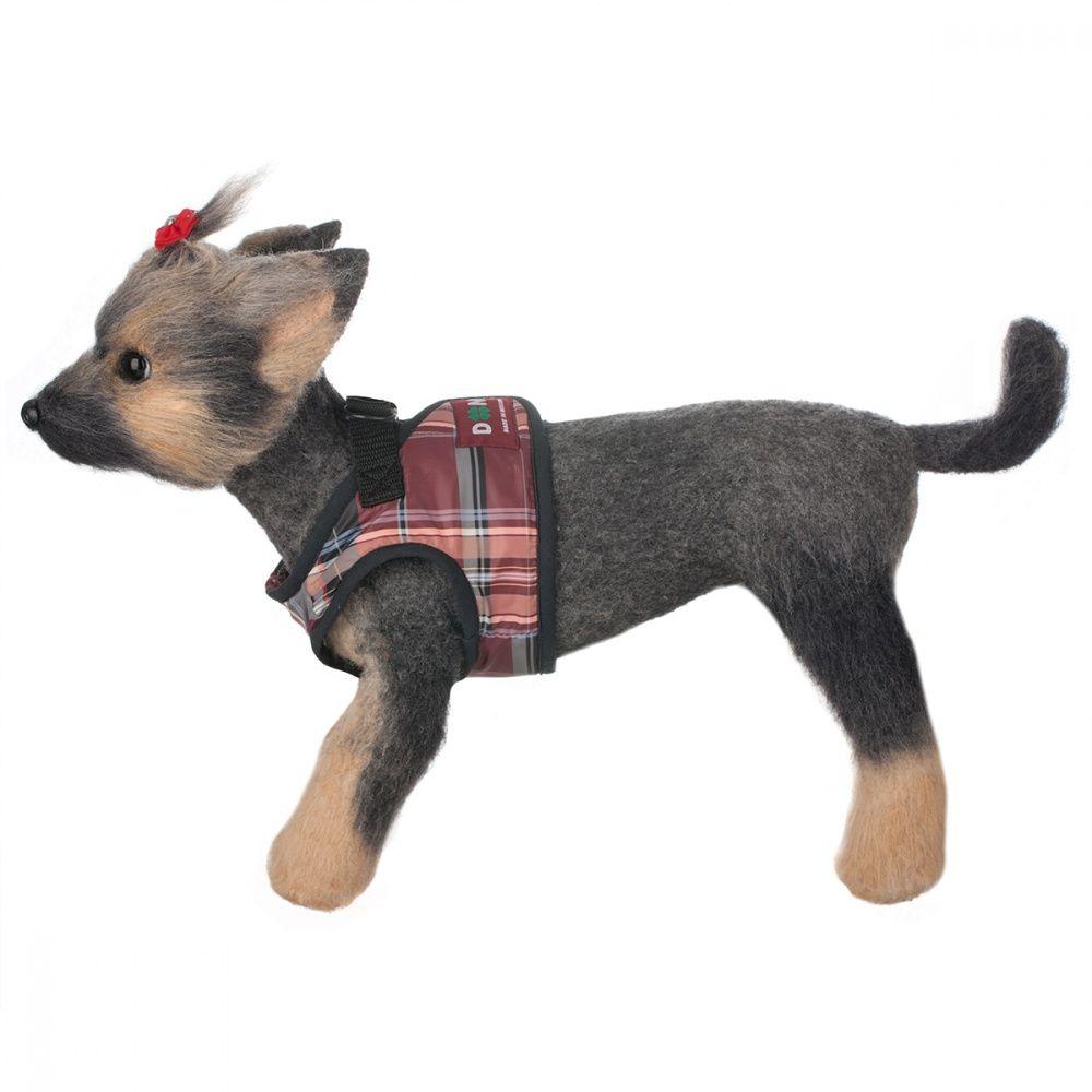 Шлейка-жилет для собак Dogmoda Клетка бордо-2 16см недорого