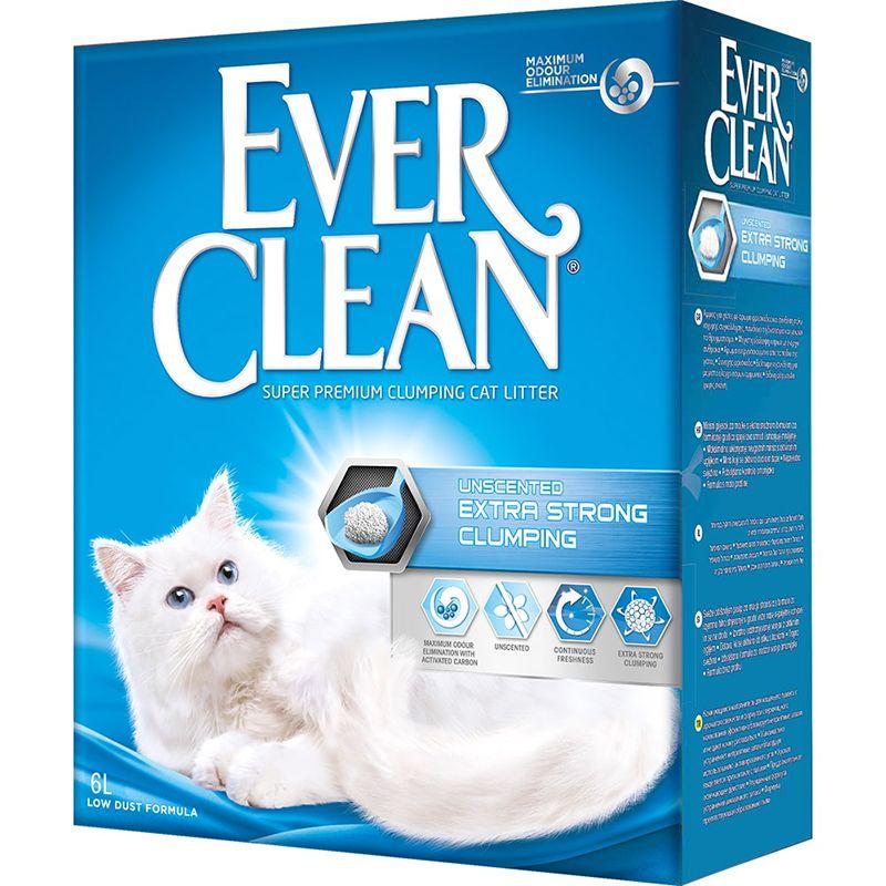 Наполнитель для кошачьего туалета EVER CLEAN Unscented Extra Strong Clumping без ароматизатора 6л