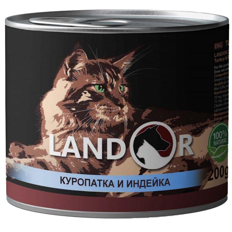 Корм для кошек LANDOR куропатка с индейкой банка 200г корм для кошек landor тунец