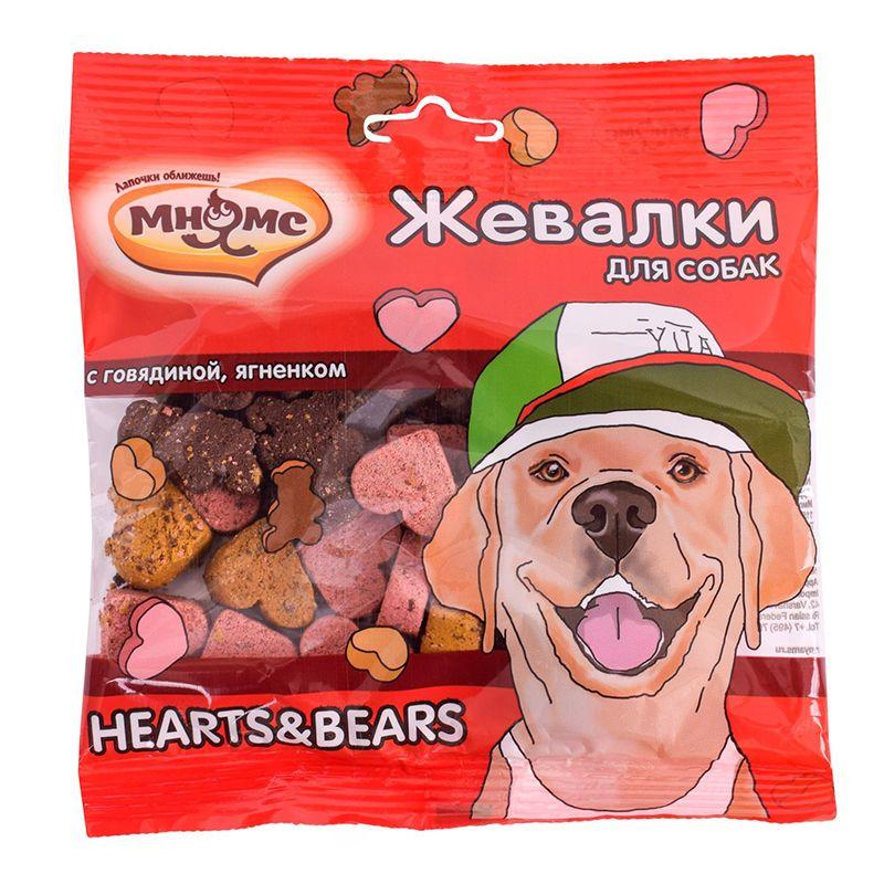 Лакомство для собак МНЯМС Жевалки Hearts&Bears с говядиной и ягненком 150г