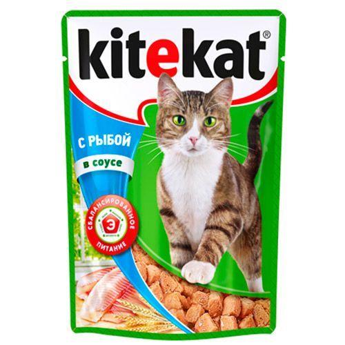 Корм для кошек Kitekat рыба в соусе конс. пауч 85г корм kitekat отзывы ветеринаров