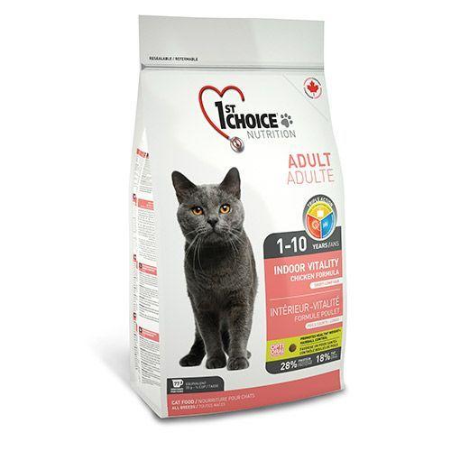 Корм для кошек 1st CHOICE VITALITY INDOOR для домашних кошек, цыпленок сух. 5.44кг