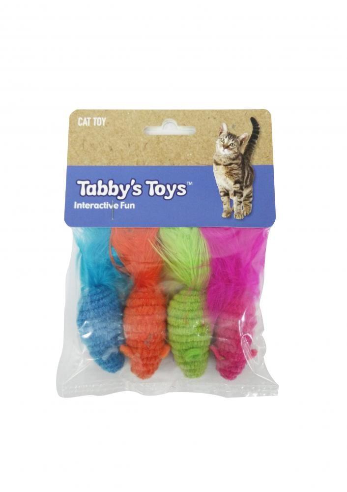 Игрушка для кошек CHOMPER Bright Набор мышки с пером 4шт. с кошачьей мятой цена