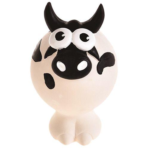 Игрушка для собак Foxie Корова с пищалкой 11,5х7,5х7,5см латекс белая