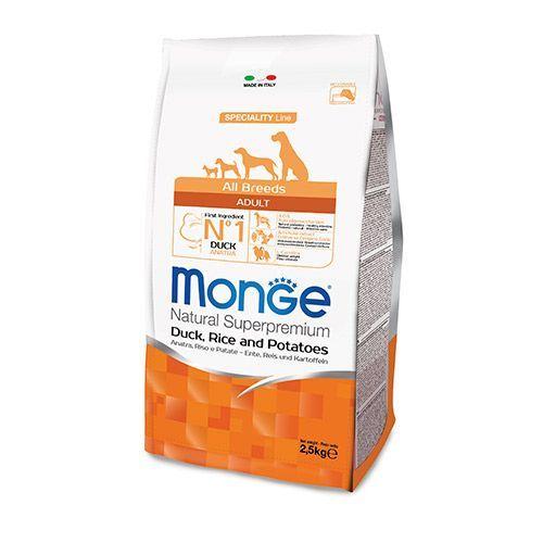 Корм для собак Monge Dog Speciality утка с рисом и картофелем сух. 2,5кг