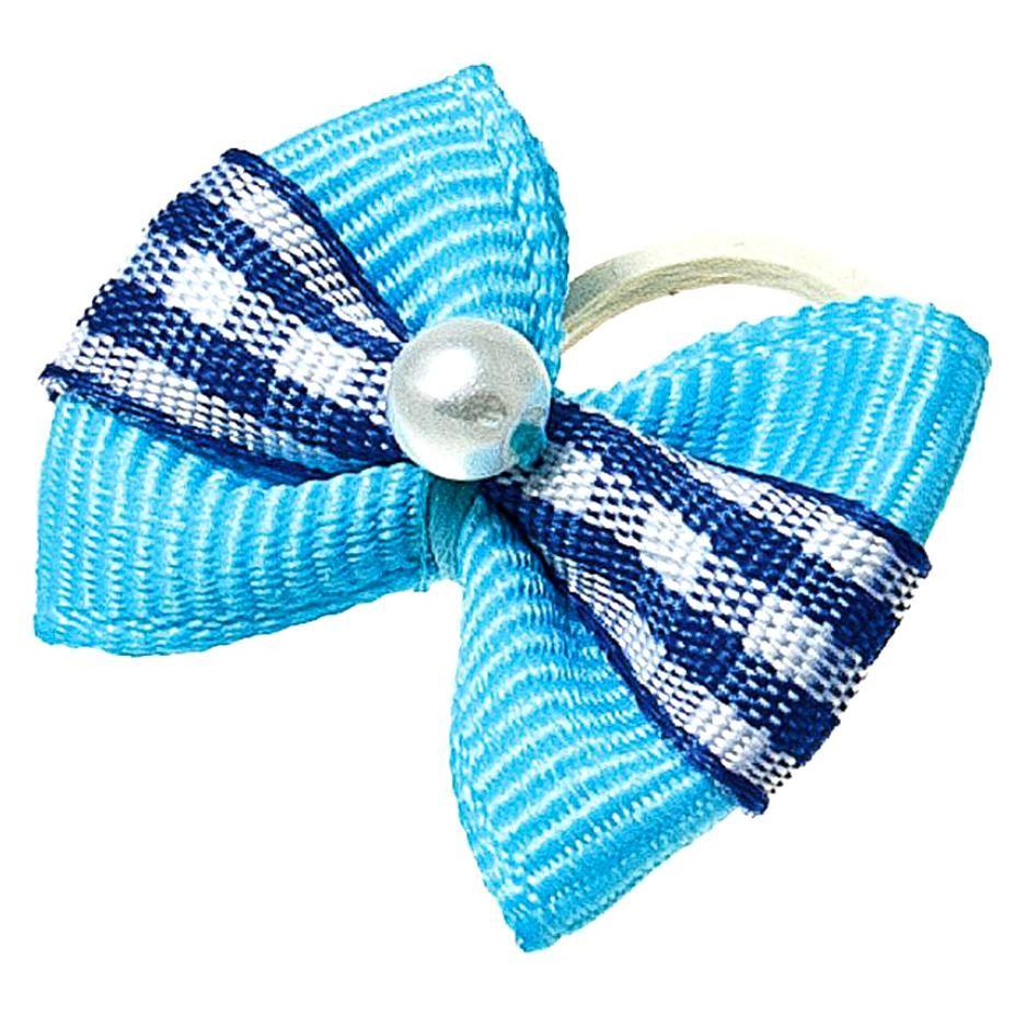 Бантик V.I.PET (пара) голубой с полоской в син. квадрат + бусинка