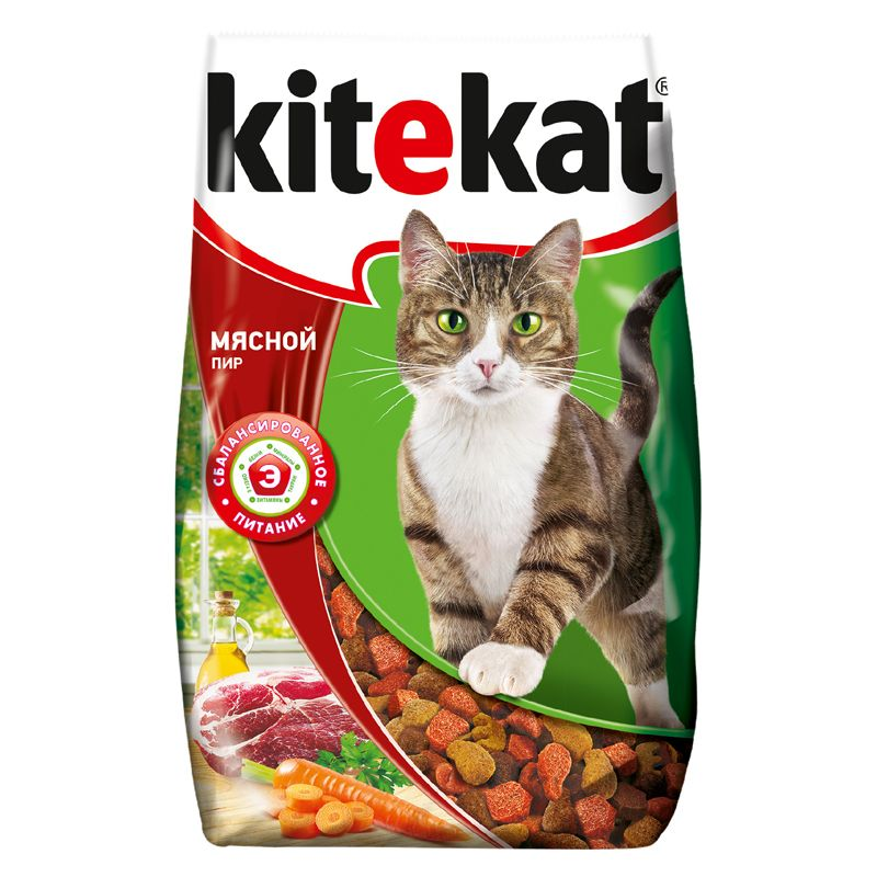 Корм для кошек Kitekat Мясной пир сух. 1,9кг