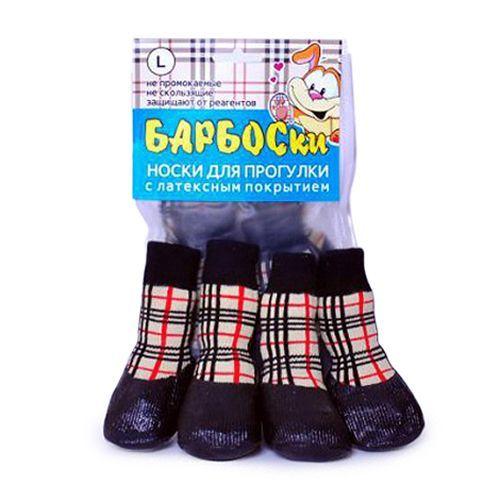 барбоски от морозки носки для прогулки прорезиненные с липучками цвет серый размер 2 Носки для собак БАРБОСКИ для прогулки, клетка размер L
