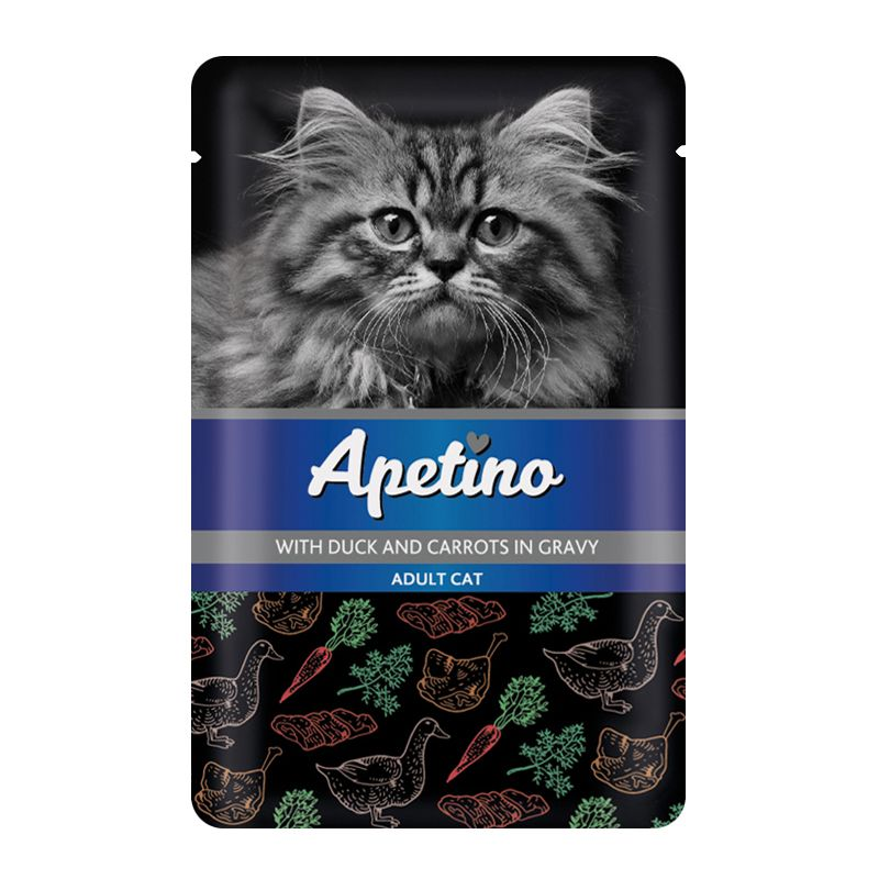 цена на Корм для кошек APETINO утка, морковь в соусе пауч