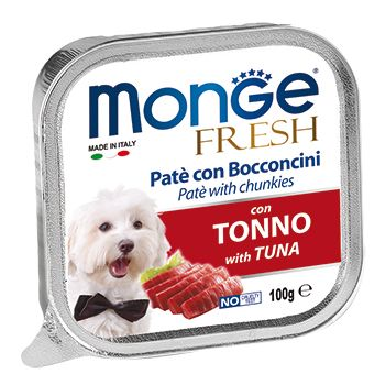 Фото - Корм для собак Monge Dog Fresh тунец конс. 100г корм для собак monge fruit ягненок яблоко конс 100г