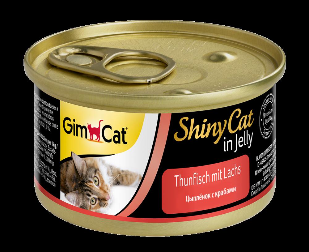 Корм для кошек GIMBORN GimCat Shiny Cat, Цыпленок, крабы конс.70г