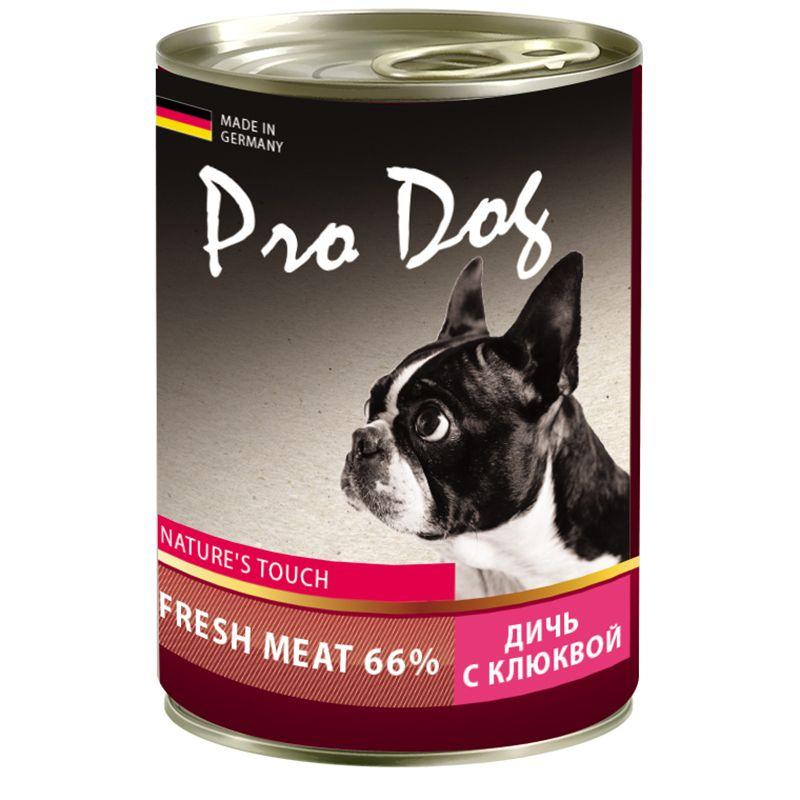 Корм для собак PRO DOG дичь, клюква конс. 400г