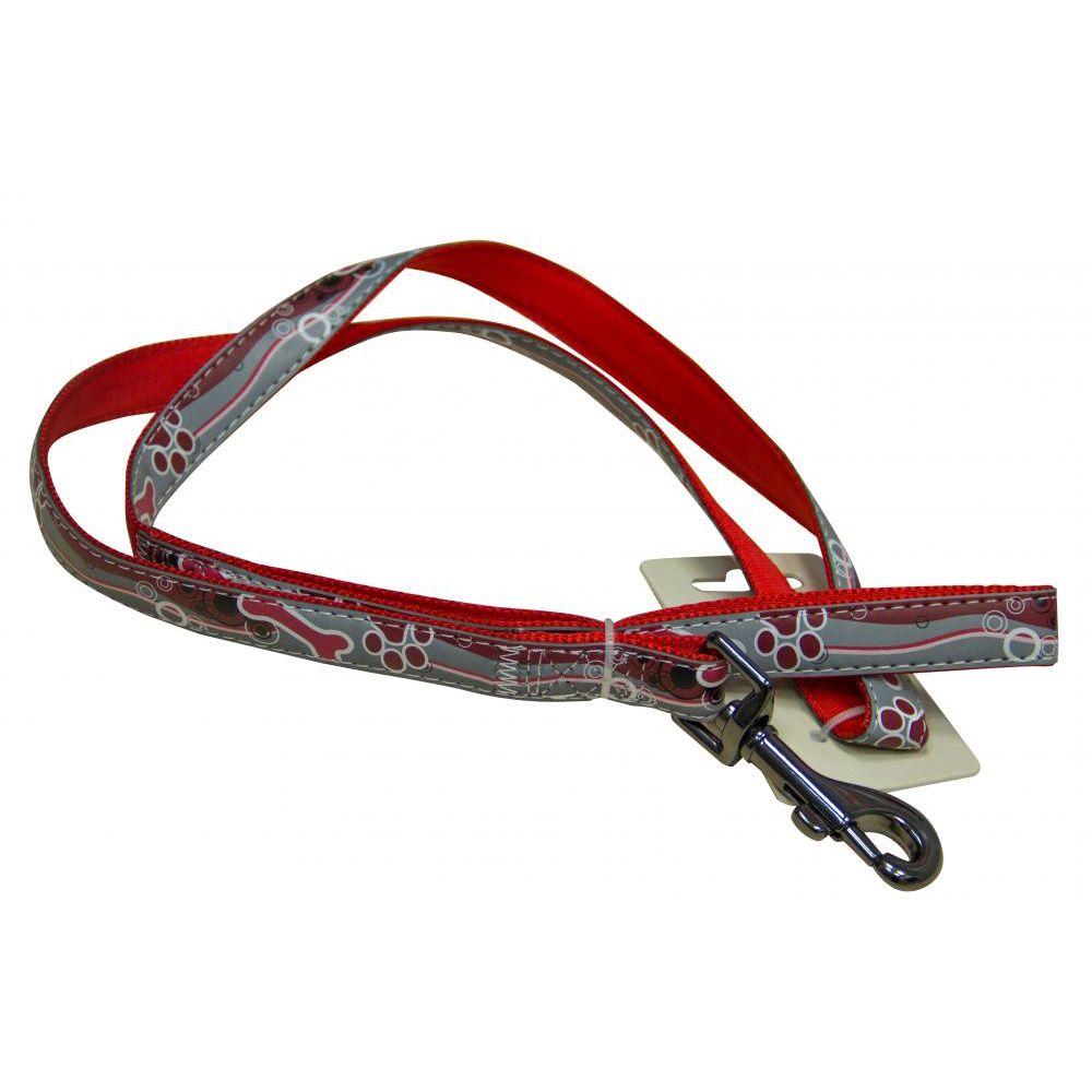 цена на Поводок для собак Great&Small светоотражающий 10х1200мм нейлон красный