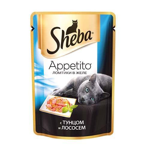 Корм для кошек SHEBA Appetito ломтики в желе тунец и лосось конс. пауч 85г недорого