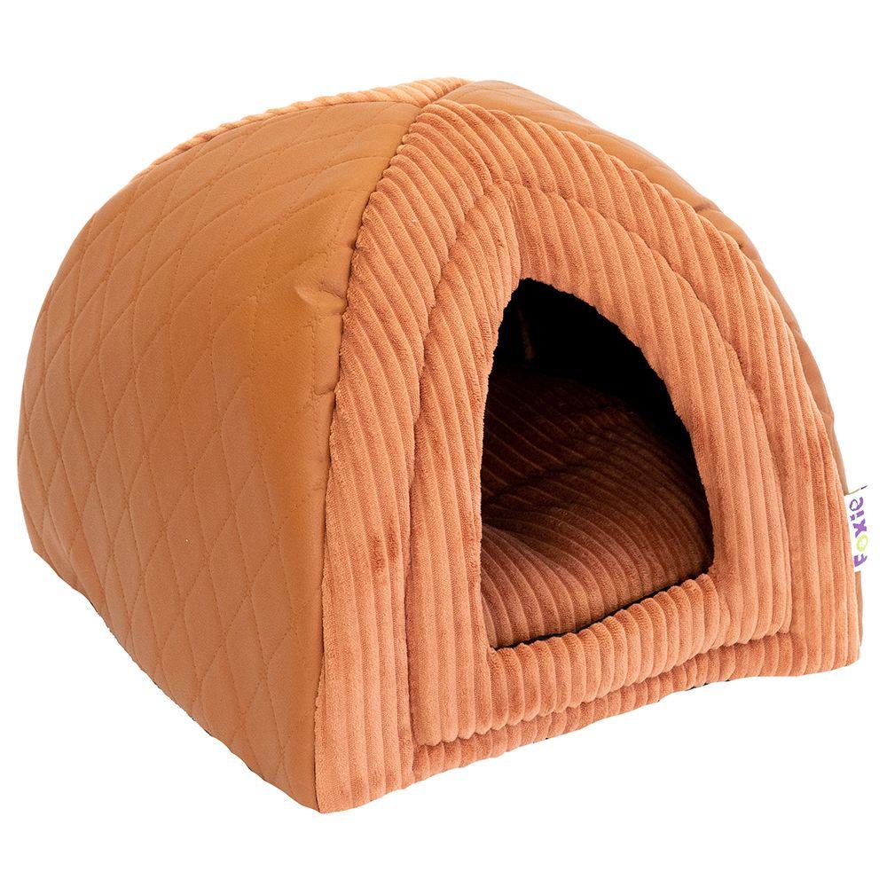 Домик для животных Foxie Leather 40х40х40см оранжевый недорого