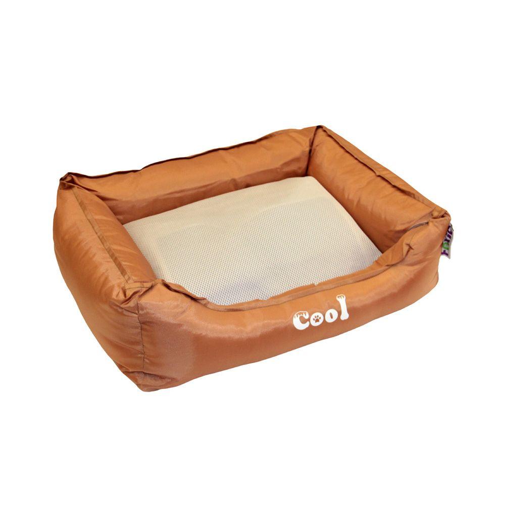 Лежак для животных Foxie Cooling с охлаждающим ковриком 47х37х17см коричневый