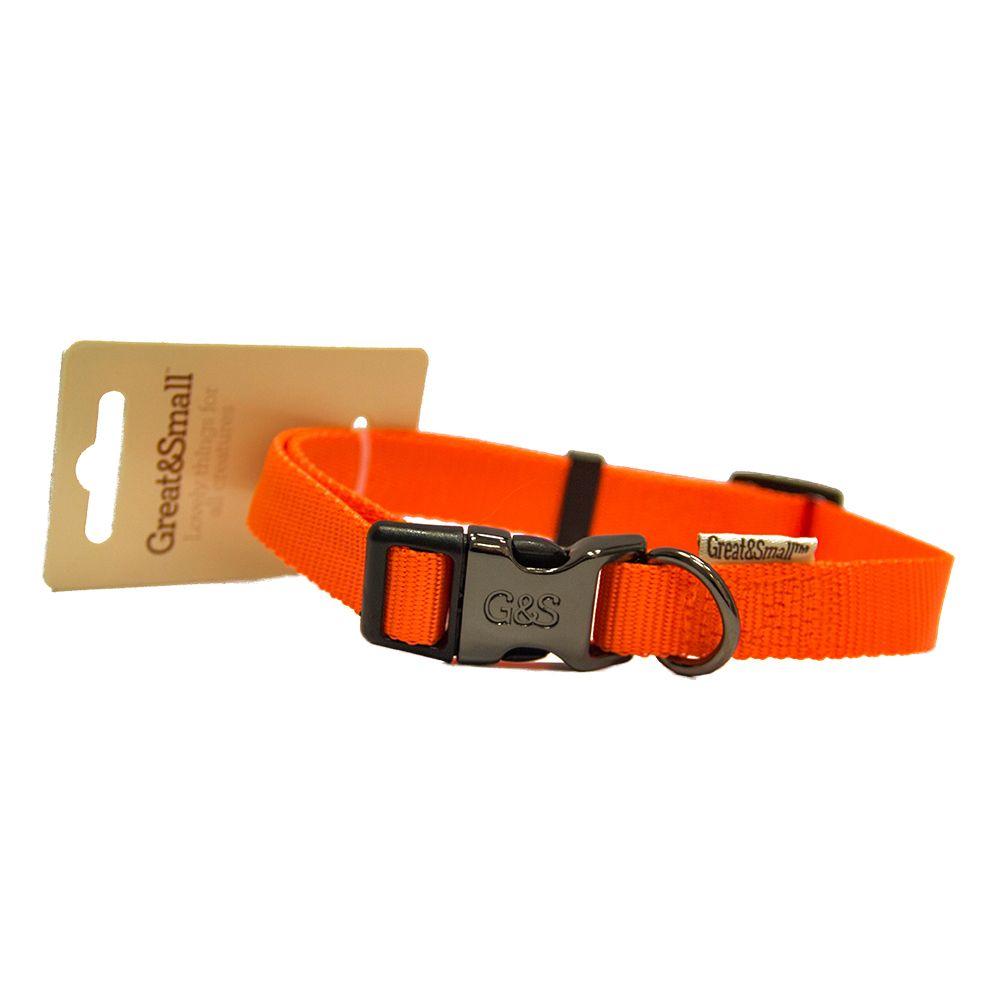 Ошейник для собак Great&Small 10x200-350мм нейлон Оранжевый