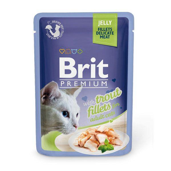 цена Корм для кошек Brit Premium Cat Jelly Кусочки из филе форели в желе пауч 85г онлайн в 2017 году