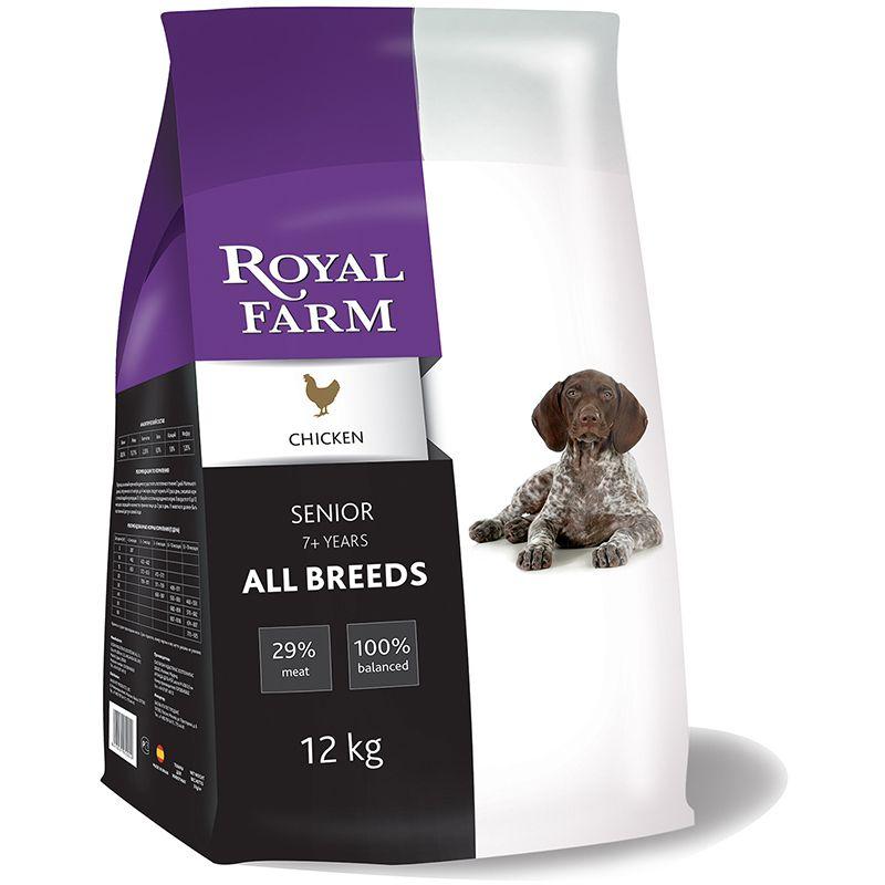 Корм для собак ROYAL FARM для пожилых, курица сух. 12кг