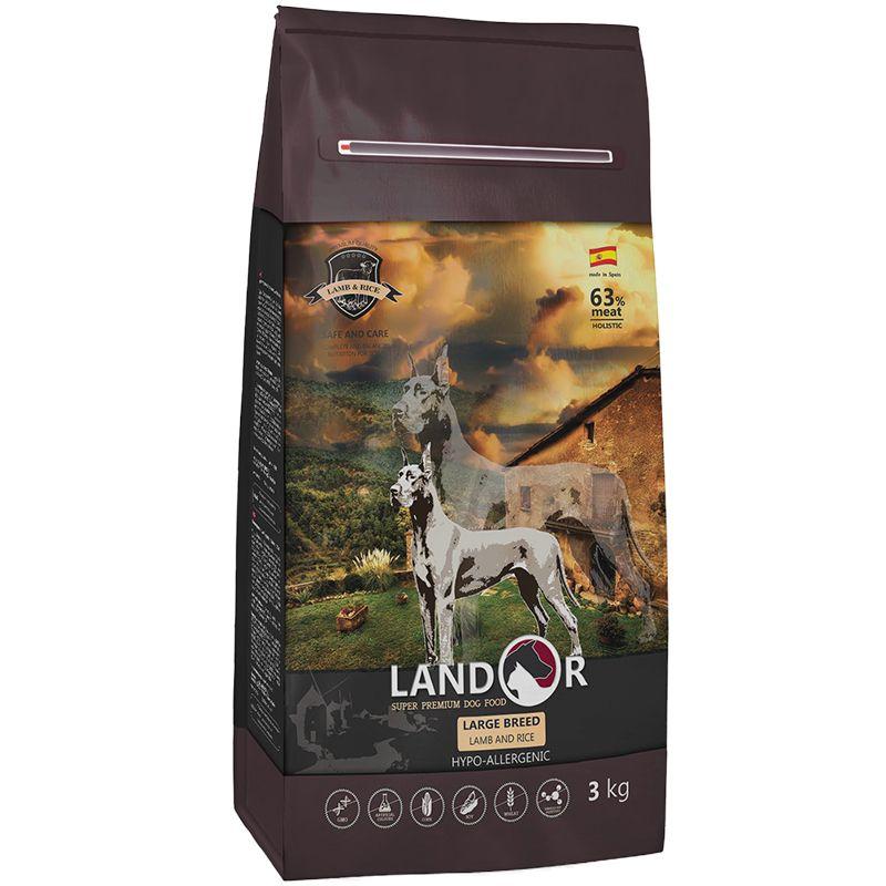 Корм для собак LANDOR для крупных пород, ягненок с рисом сух. 3кг корм для собак brit care medium breed для средних пород ягненок с рисом сух 3кг